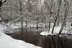 河在冬天。 库存图片