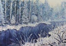 河在冬天森林里 免版税库存图片