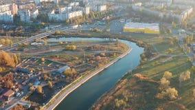 河在日落的城市 鸟瞰图 影视素材