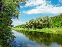 河在春天在一个晴天 免版税库存照片