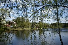 河在春天在村庄 库存照片