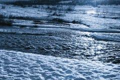 河在晚上 免版税库存照片