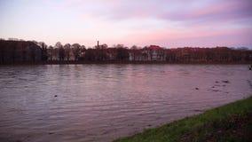 河在洪水以后运载从山的垃圾, Uzhgorod,乌克兰 股票视频