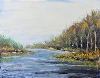 河在秋天森林,油画里 免版税图库摄影