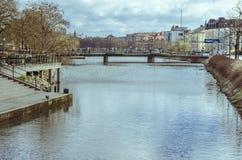 河在马尔摩,瑞典 免版税图库摄影