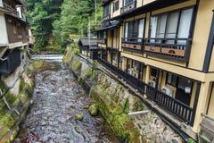 河在Kurokawa onsen镇在Aso,九州 免版税库存图片