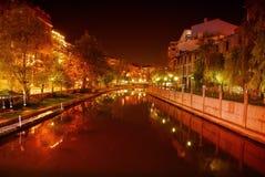 河场面在晚上 库存图片
