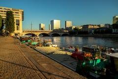 河塞纳河在平衡的巴黎在阳光下 免版税库存图片