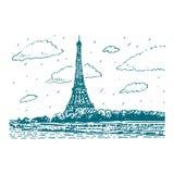 从河塞纳河的埃佛尔铁塔在巴黎,法国 库存例证