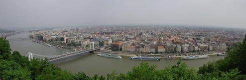 河多瑙河和布达佩斯老城市全景,布达佩斯 库存图片