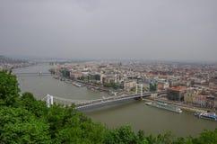 河多瑙河和布达佩斯老城市全景,布达佩斯 免版税库存照片