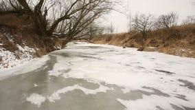 河奥得流动作为内地三角洲的奥得河由洪泛区森林和沼泽地草甸在用小层数包括的冬天 股票视频