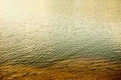 河岸、沙子和起波纹的水与反射很多copyspace 免版税图库摄影