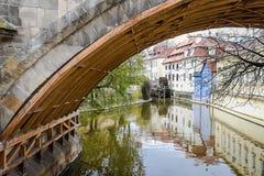 河岸在桥梁下 免版税库存图片