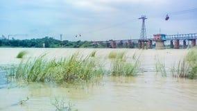 河岸的风景 Damodar 免版税库存图片