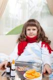 河床女孩一点医学病态采取 图库摄影