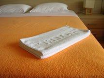 河床旅馆毛巾 图库摄影