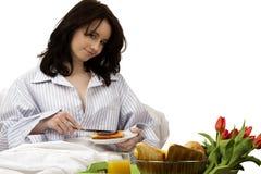 河床早餐妇女年轻人 库存照片