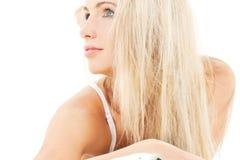 河床白肤金发可爱 库存图片