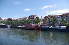 河恶意的史特拉斯堡,法国的河岸 库存照片