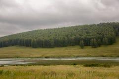 河慢慢地流动 在早期的秋天天空的灰色云彩在绿色领域、树、森林和巨大的山关闭 很多 免版税库存照片