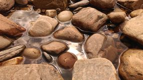 河晃动石头水 库存图片
