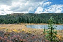 河有山和天空背景 免版税库存照片