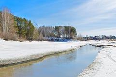 河概略的春天流解冻天气 农村的横向 西伯利亚,俄国 库存图片