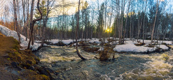 河概略的春天流解冻天气 免版税库存图片