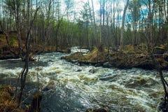 河概略的春天流解冻天气 库存照片