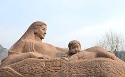 黄河母亲雕塑 库存照片