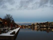河气氛在图尔库 芬兰,斯堪的那维亚,欧洲 图库摄影