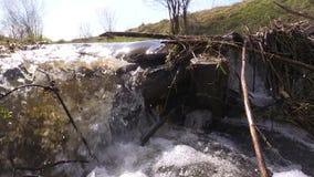 河水流量通过分支和垃圾水坝 股票视频