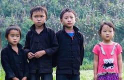 河江市,越南, 2015年11月8日Hmong种族孩子,河江市高地越南 库存图片