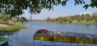 河沿划船 库存照片