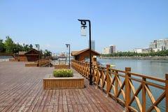 河沿木板条 库存照片
