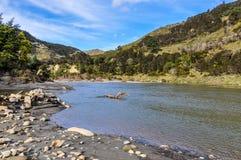 河沿视图在旺格努伊国家公园,新西兰 库存图片
