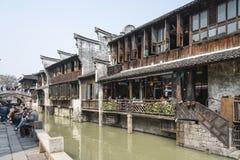河沿餐馆 库存图片