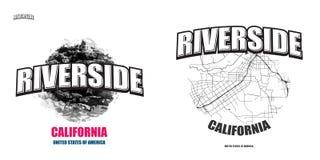 河沿,加利福尼亚,两件商标艺术品 免版税库存照片