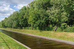 河流动的一种小渠道,绿色草坪、树和灌木作为一个生态上友好的地方人的能放松 免版税库存照片