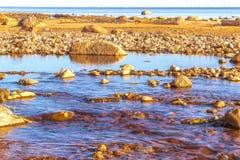 河瀑布石头 库存图片