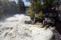 河瀑布Bracebridge安大略 库存照片