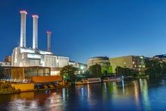 河狂欢的同时发热发电植物在柏林 免版税库存图片