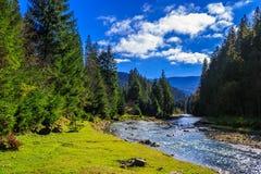 河由岩石岸流动在秋天山森林附近 库存照片