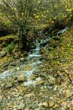 河由有岩石的渠道下降 库存照片