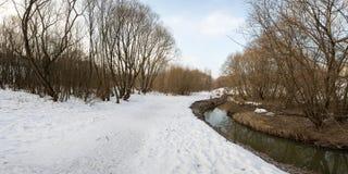 河的全景和树在冬天城市停放 莫斯科 俄国 图库摄影