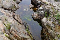 河的干河道用岩石和水 免版税库存图片