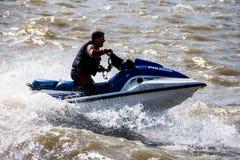 河的梅尔塞喷气机滑雪者 库存照片