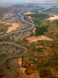 河的鸟瞰图  免版税库存图片