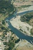 河的鸟瞰图 免版税库存照片